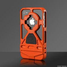 a functional iPhone case with an integrated lock mechanism, anti slip grip, detachable lanyard and magnet. PLUS IT'S ORANGE (: