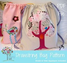 Drawstring Backpack Pattern -PDF File with 2 Applique Designs by The Sewing Loft.