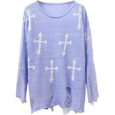 Cross Print Ripped Knitted Pullovers in Purple (21.845 CLP) ❤ liked on Polyvore featuring tops, sweaters, shirts, chicnova, long sleeve shirts, punk rock shirts, punk sweater, pullover shirt and print shirts