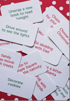 print these out, put them a decorated box or whatever.. reach in, pick out the family's activity for the day or evening.