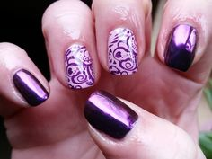 Purple Chrome Stamped Nails