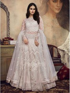 Indian Designer White color Full  Embroidered Lehenga Choli with Net Dupatta