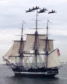 U.S.S. Constitution in Boston Harbor. Her annual sail around the harbor.