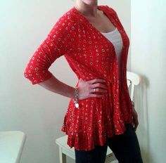 RED TO RUFFLES: SIMPLE UPCYCLED WRAP DRESS TO CARDI