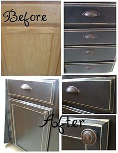Painted, distressed cabinets....love love love these cabinets!!