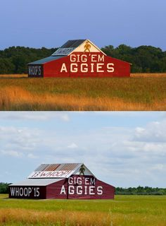Texas A & M University Aggies - '13 and '15 whoop barn , 2 pix