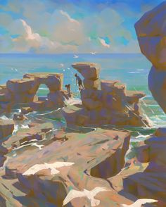 ArtStation – Desert Island, Slawek Fedorczuk – Art Drawing Tips Landscape Concept, Fantasy Landscape, Landscape Art, Landscape Paintings, Fantasy Art, Landscapes, Environment Sketch, Environment Painting, Landscape Illustration