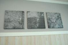 Maps of where you met, got engaged, and got married on canvas