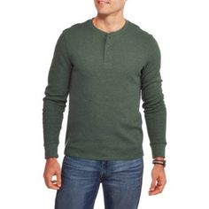 Faded Glory Men's Long Sleeve Thermal Henley, Size: XL, Green