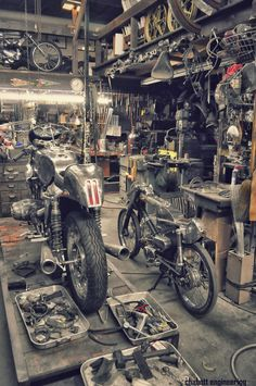 Shinye Kimura workshop. The little bike on the right is a honda CT-90 or a version thereof.