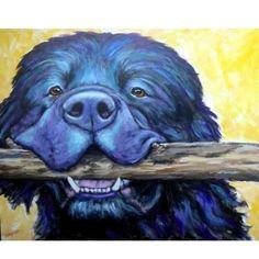 Newfoundland with Stick Dog Art 8x10 Print, Painted by Dottie Dracos | LarkStudios