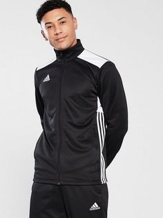 Adidas Mens Regista Tracksuit, Black, Size - Black - S Tracksuit Tops, Adidas Tracksuit, Snow Outfit, Basic Style, Tie Knots, Sock Shoes, Adidas Men, Sport Outfits, Adidas Jacket