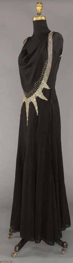 RHINESTONE DECO EVENING DRESS, 1930s