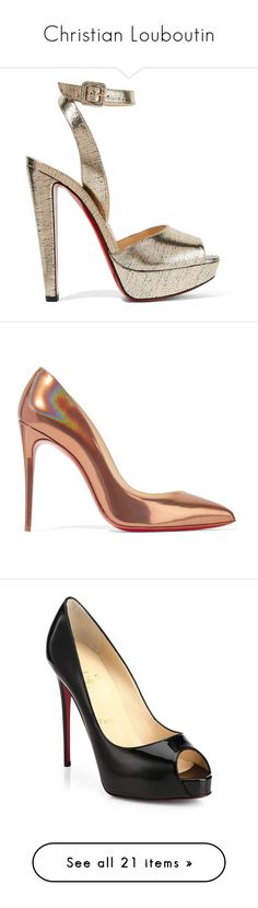 """""""Christian Louboutin"""" by designing-myworld ❤ liked on Polyvore featuring shoes, sandals, heels, louboutin, pumps, heeled sandals, chunky heel sandals, strappy high heel sandals, ankle strap sandals and high heel platform sandals"""