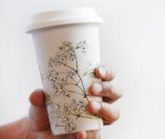 Baby's Breath ceramic coffee mug.