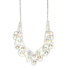Scalloped Rhinestone Chains with Iridescent Crystals V Necklace