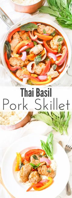 Tender juicy pork loin is cooked in a skillet with fresh vegetables and finished in an easy thai basil sauce all in under 30 minutes! This thai basil pork skillet with @smithfieldbrand at walmart is the perfect quick and easy weeknight meal that the whole family will love! AD #realflavorrealfast