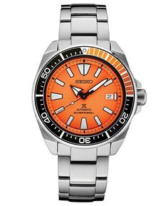 Seiko Men's Automatic Prospex Diver Stainless Steel Bracelet Watch 44mm. Three-hand automatic movement; runs by hand or wrist movement; never needs batteries & requires little care #men #watches #mens #steel #watch