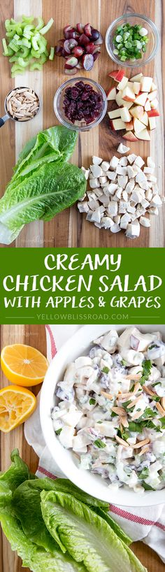 Creamy Chicken Salad with Apples, Grapes, Almonds and Cranberries
