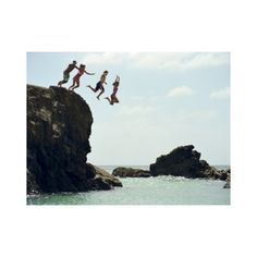 Group of friends jumping into ocean from rock cliff (Picture-5274851) ❤ liked on Polyvore featuring pictures, backgrounds, friends, people and photos