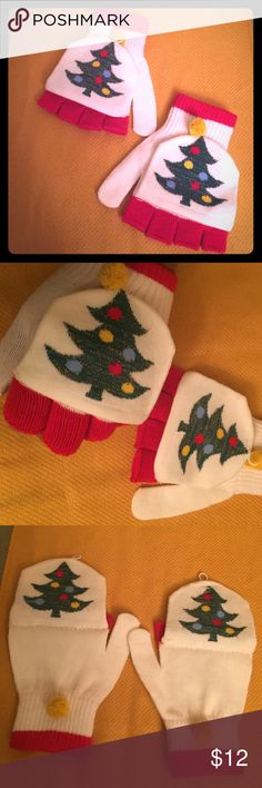 🆕 🎄Christmas Tree Flip Top Mittens/Gloves🎄 🎄Cool Flip Top Two Gloves in One!  Girls & Women. OS. Off-White with a Green Christmas Tree adorned with Metallic Threads. The Trees are visible on both sides of the Mitten. As Fingerless Gloves, the Trees are only on the Front with the Red Trim showing on the Fingers and Cuffs. Gold Pom Pom only on the Fronts secure the Flipped panel when Fingerless. 84% Acrylic/11% Polyester/2% Rubber/1% Spandex/2% Other Fiber. Brand New. Excellent Condition…