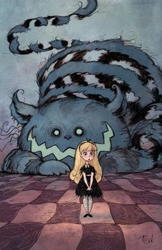 Alice and the Cheshire Cat.