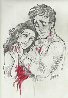 I adore this picture. The expression in eponine's eyes is perfect, and Marius' can be interpreted In two ways. He could either look worried because 'ponine is dying, and he cares for her, or bewildered because she's clinging onto him and he's like ugh what do i do?