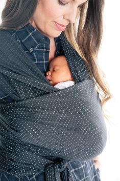 Charcoal Swiss Dot baby wrap | Solly Baby