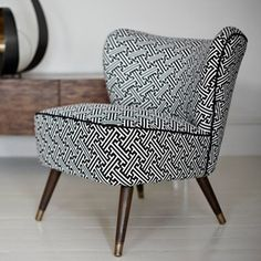 This 1950s cocktail chair has been updated with a monochrome fabric from textile design duo Korla.