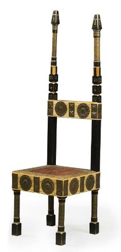 CARLO BUGATTI (1856-1940)  CHAIR, CIRCA 1900, walnut, partially ebonised, suede, hessian, copper and pewter, 57 in. (145 cm.) high  |  SOLD $7,838 Christie's London, Nov. 5, 2009