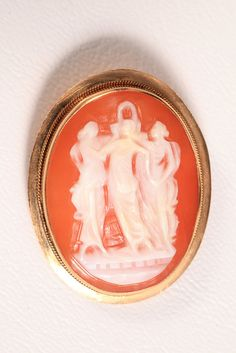 Vintage 18K Gold 750 3 Graces Carved Shell Cameo Pendant Brooch Pin Estate Find #Unbranded