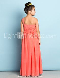 Lanting Bride® Ankle-length Chiffon Junior Bridesmaid Dress - Mini Me A-line One Shoulder with Side Draping 2017 - $69.99