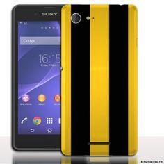 sony e3 coque Racing Jaune et Noire - Accessoire téléphone portable. #Coque #Xperia #E3 #Case #Cover #Sony