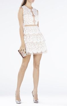 BCBG SOPHEA SLEEVELESS TIERED-SKIRT LACE DRESS $466