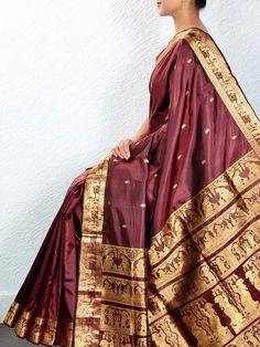 Brown Baluchari Silk Saree
