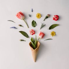 ice cream cone with colorful flowers on white background flat lay