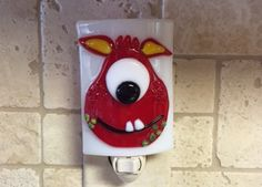 Nightlight Fused Glass Happy One-Eyed Monster - Red