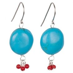 Turquoise with Red Jade Detail Earrings.