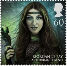 """Morgan Le Fay featured as part of a British set of 8 stamps called """"Magical Realms""""."""