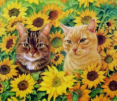 Summer cat painting. Lesly Ann Ivory