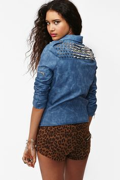 Spiked Moto Jacket - Blue, by NASTY GAL    I really want this.