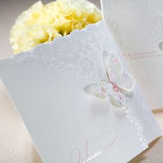 Fancy White Tri-Fold Birds  Butterflies Laser-Cut Vertical Wedding Invitations, 100 pcs/lot,
