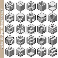Скачать - 3D куб логотип дизайн-пакет — стоковая иллюстрация #14125797