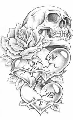 Dark Art Drawings, Pencil Art Drawings, Art Drawings Sketches, Tattoo Sketches, Skull Tattoo Flowers, Skull Rose Tattoos, Body Art Tattoos, Tatoos, Skull Tattoo Design