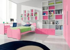 decorating small bedroom ideas for girl -- change it to browns & greens to be neutral!