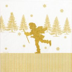 4x Paper Napkins -Ice Skating Papercut - for Party, Decoupage Craft