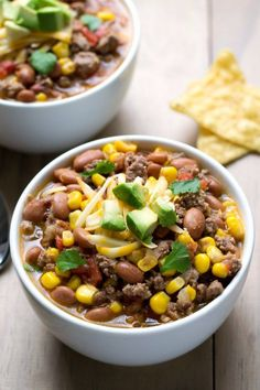 This Crock Pot Taco Soup is a quick, easy recipe with just 7 ingredients. It's a flavorful, healthy meal for a busy night, and it costs less than $1 per serving!
