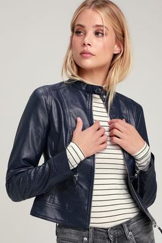 Always stay wild at heart in the Lulus Don't Hold Back Navy Blue Vegan Leather Moto Jacket! Sleek vegan leather shapes this unique moto jacket with snap collar. Navy Leather Jacket, Vegan Leather Jacket, Navy Jacket, Moto Jacket, Jackets For Women, Women's Jackets, Retro Outfits, Retro Clothing, Stay Wild