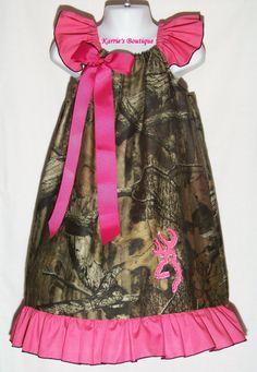 Camo & Hot Pink + Bling Deer Ruffle Dress / Mossy Oak / Rhinestones / Infant / Baby / Girl / Toddler / Kids / Fall/ Custom Boutique Clothing