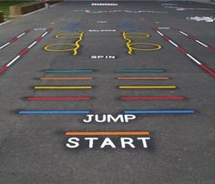 We offer a complete range of playground markings for use on any solid surface. O… We offer a complete range of playground markings for use on any solid surface. Our playground markings are particularly useful … Playground Painting, Playground Games, Preschool Playground, School Hallways, School Murals, Outdoor School, Outdoor Classroom, Sensory Pathways, Field Day Games